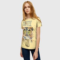 Футболка женская Owls like coffee цвета 3D-принт — фото 2