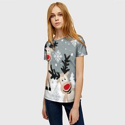Женская 3D-футболка с принтом Свитер с оленями, цвет: 3D, артикул: 10165883703229 — фото 2