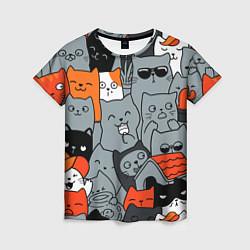 Женская футболка Разноцветные коты