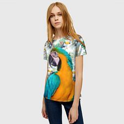 Футболка женская Летний попугай цвета 3D — фото 2
