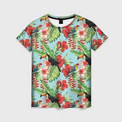 Женская 3D-футболка с принтом Туканы в тропиках, цвет: 3D, артикул: 10065277703229 — фото 1