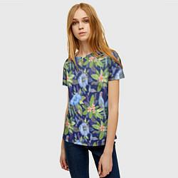 Женская 3D-футболка с принтом Голубые попугаи, цвет: 3D, артикул: 10065279503229 — фото 2