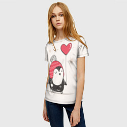 Футболка женская Влюбленный пингвин цвета 3D — фото 2