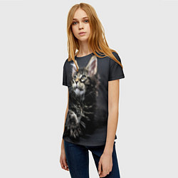 Женская 3D-футболка с принтом Кошечка, цвет: 3D, артикул: 10081686203229 — фото 2