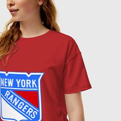 Футболка оверсайз женская New York Rangers цвета красный — фото 2