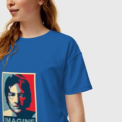Футболка оверсайз женская Lennon Imagine цвета синий — фото 2