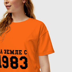 Футболка оверсайз женская На Земле с 1983 цвета оранжевый — фото 2