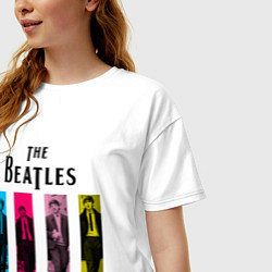 Футболка оверсайз женская Walking Beatles цвета белый — фото 2