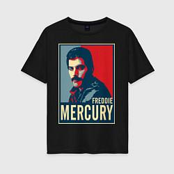 Футболка оверсайз женская Freddie Mercury цвета черный — фото 1