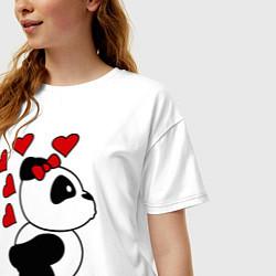 Футболка оверсайз женская Поцелуй панды: для нее цвета белый — фото 2