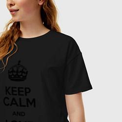 Футболка оверсайз женская Keep Calm & Love Harry Styles цвета черный — фото 2