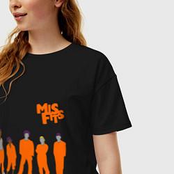 Футболка оверсайз женская Misfits Orange цвета черный — фото 2