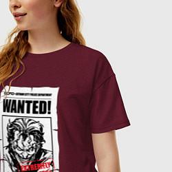 Футболка оверсайз женская Wanted Joker цвета меланж-бордовый — фото 2