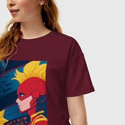 Футболка оверсайз женская Капитан Марвел Мстители цвета меланж-бордовый — фото 2
