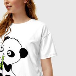 Футболка оверсайз женская Пандочка и бамбук цвета белый — фото 2