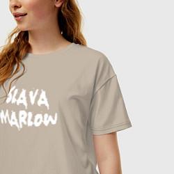 Футболка оверсайз женская Slava Marlow цвета миндальный — фото 2