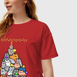 Женская удлиненная футболка с принтом КотоЕль, цвет: красный, артикул: 10276599305825 — фото 2