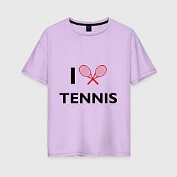 Футболка оверсайз женская I Love Tennis цвета лаванда — фото 1