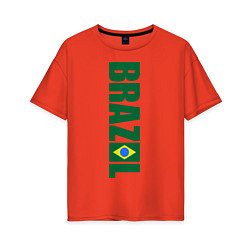 Футболка оверсайз женская Brazil Football цвета рябиновый — фото 1