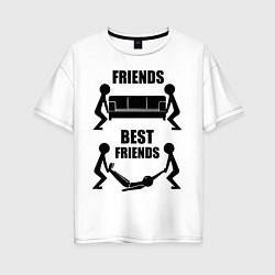 Футболка оверсайз женская Best friends цвета белый — фото 1