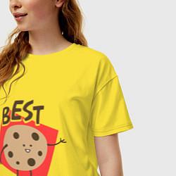 Футболка оверсайз женская Печенька цвета желтый — фото 2
