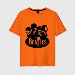 Футболка оверсайз женская The Beatles Band цвета оранжевый — фото 1