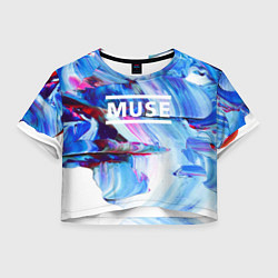 Футболка 3D укороченная женская MUSE: Blue Colours цвета 3D — фото 1