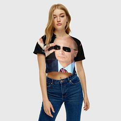 Футболка 3D укороченная женская Путин в очках цвета 3D-принт — фото 2