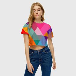 Футболка 3D укороченная женская Разноцветные полигоны цвета 3D — фото 2