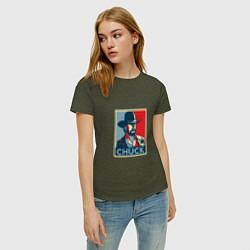 Футболка хлопковая женская Chuck Poster цвета меланж-хаки — фото 2