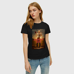 Футболка хлопковая женская American Gods: Czernobog цвета черный — фото 2