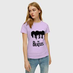 Футболка хлопковая женская The Beatles: Faces цвета лаванда — фото 2