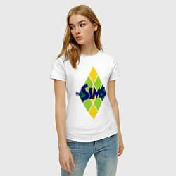 Футболка хлопковая женская The Sims цвета белый — фото 2
