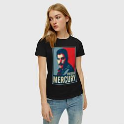 Футболка хлопковая женская Freddie Mercury цвета черный — фото 2