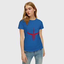 Футболка хлопковая женская Quake logo цвета синий — фото 2