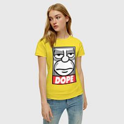 Футболка хлопковая женская Homer dope цвета желтый — фото 2
