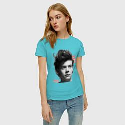 Футболка хлопковая женская Harry Styles цвета бирюзовый — фото 2