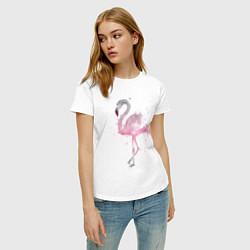 Футболка хлопковая женская Flamingo цвета белый — фото 2