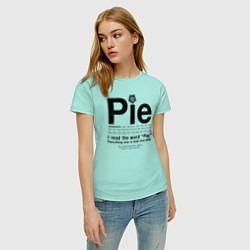 Футболка хлопковая женская Pie цвета мятный — фото 2