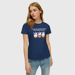 Футболка хлопковая женская Daisy Duck with her crush цвета тёмно-синий — фото 2