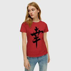 Футболка хлопковая женская Японский иероглиф Счастье цвета красный — фото 2