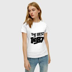 Футболка хлопковая женская The best of 1987 цвета белый — фото 2