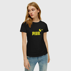 Футболка хлопковая женская Пика цвета черный — фото 2