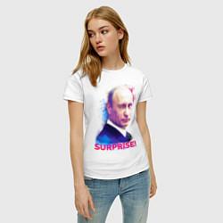 Футболка хлопковая женская Putin Surprise цвета белый — фото 2